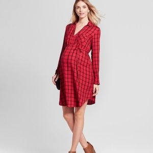 Isabel Maternity red plaid shirt dress